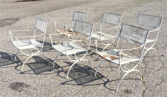 Set 6 Iron Outdoor Garden Chairs. Open Arms. Diamond me