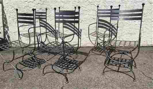 Set 6 Outdoor Steel Patio Chairs. Lattice seats and lad