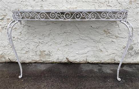 Decorative twisted trim Iron Hall Console Table. Painte