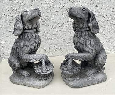 Pr Signed Concrete Dog Statues. Dogs with Flower Basket