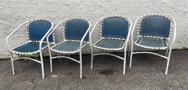 Set 4 Outdoor Chairs. Painted white metal tube frames.