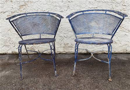 Pr Blue Painted Iron Outdoor Garden Chairs.