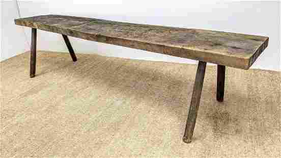 10ft Rustic Wood Long Plank Work Table. French style P