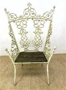 Fancy Ornate Iron Throne Chair. Painted. Wood slats se