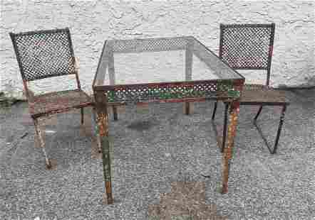 Vintage Painted Iron Outdoor Table. Two Chairs. Dining