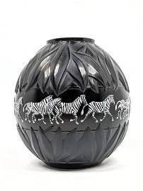 LALIQUE French Crystal Tanzania Zebra Vase. Black Glass