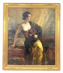 NEWCOMB MACKLIN Gilt Frame. Vintage Portrait Painting o