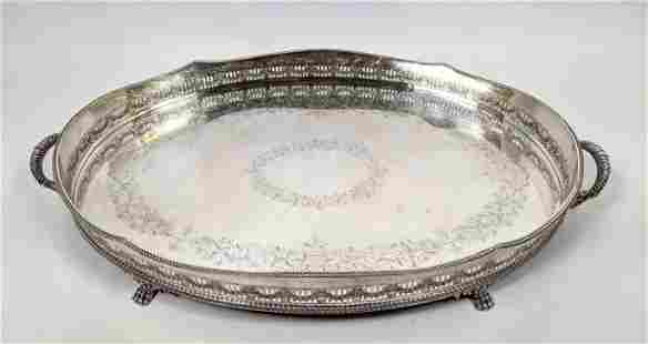 Large Oval Silver Plate Serving Tray with Engraved desi