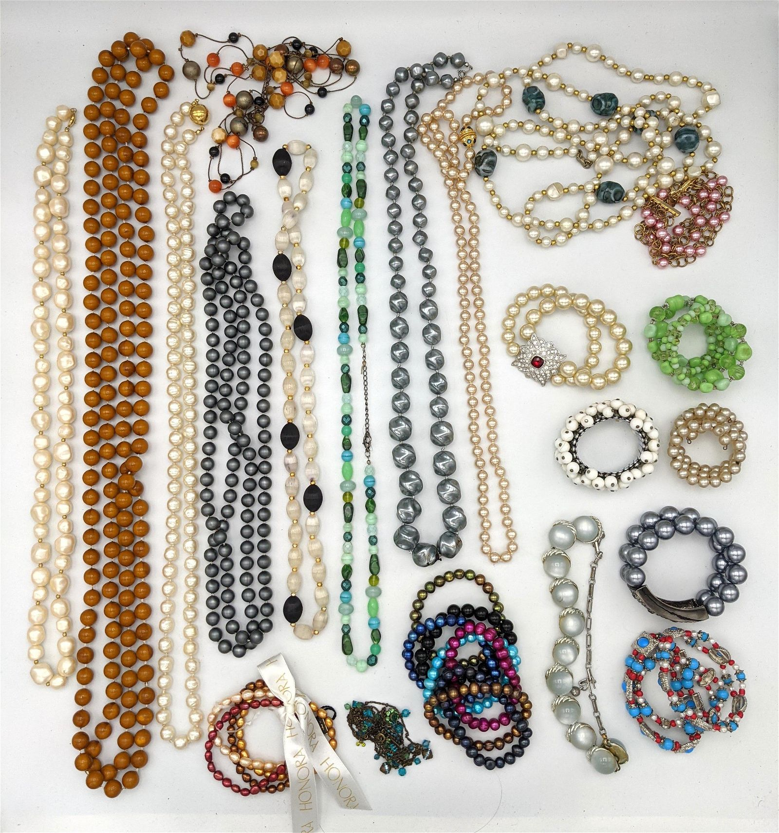 Collection of Costume Jewelry Necklaces Bracelets. Some