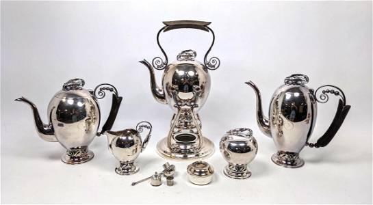 HIRATA and CO Sterling Silver 5pc Tea Coffee Service Se