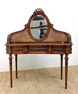 French style Vanity. Oval Mirror mounted in woven caned
