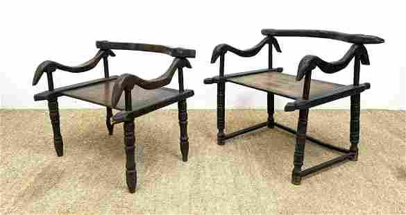Pr Primitive Carved Wood Lounge Chairs. Folk Art. Carve
