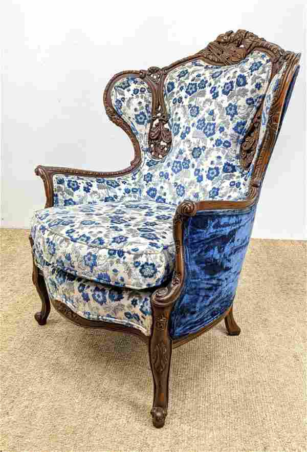 Blue & White Floral Upholstered Wing Chair. Crushed vel