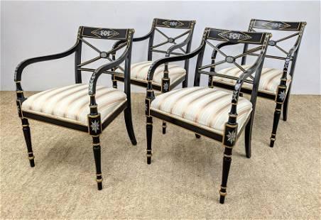 Set 4 KINDEL Hitchcock Painted Arm Chairs. Ebonized woo