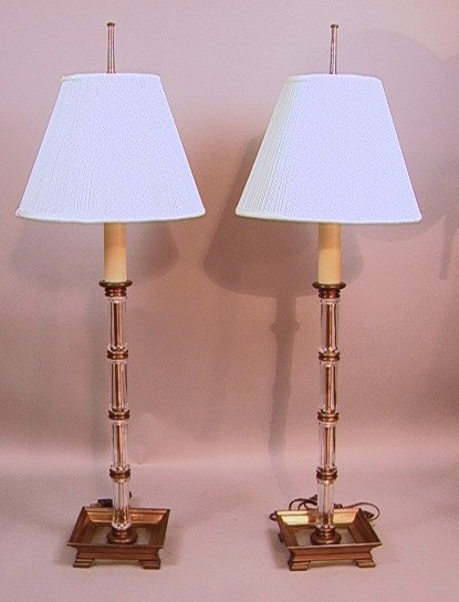 8: Pair Chapman Decorator Glass Column Table Lamp on