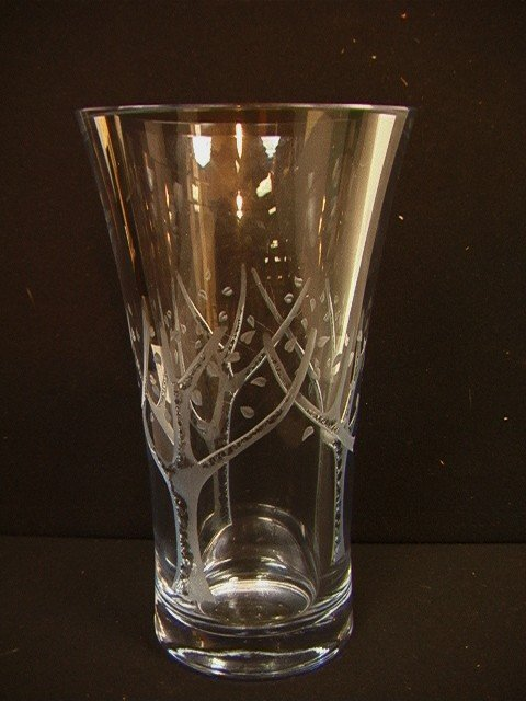 19: Stromberg Carved Glass Vase Decorated with Trees.