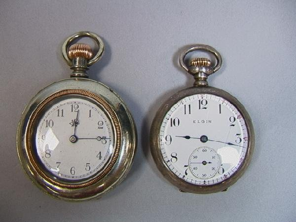 5: 2 Silver Pocket Watches. Sterling Elgin National