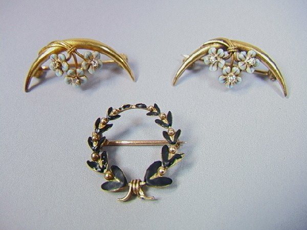 6: 3pcs Victorian Gold Pins.  Two 14K Gold crescent