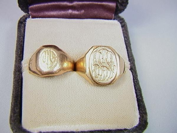 7: 2 Antique Gold Mans Rings.  One 14k initial ring