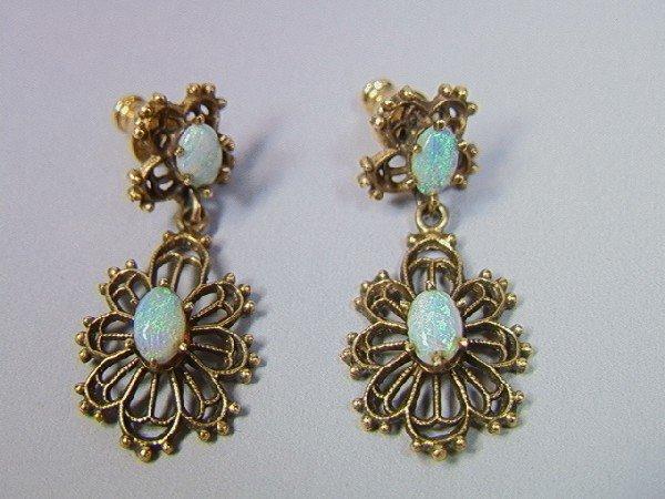 9: Pair 14K Gold and Opal Earrings.  Filigree design
