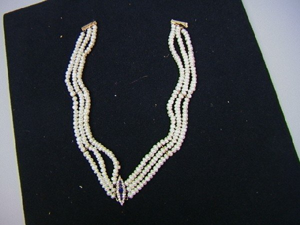 17: 14K Gold Pearl Diamond and Blue Stone Necklace.