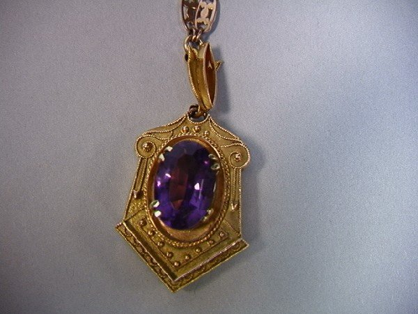 21: 14K Victorian Gold And Amethyst Necklace with Loc