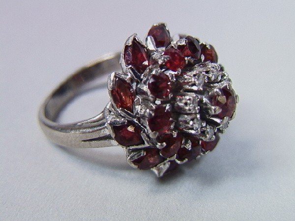 24: 18K Gold Ruby and Diamond Cocktail Ring.  Size 5.