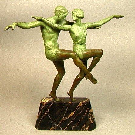 324: MARCEL BOURAINE Two Dancers Art Deco Bronze.  Bro