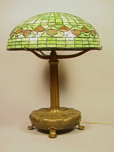 342: TIFFANY STUDIOS Leaded Glass Table Lamp ACORN Pat