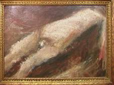 395: Oil on Board Painting. Reclining Nude. Unsigned.