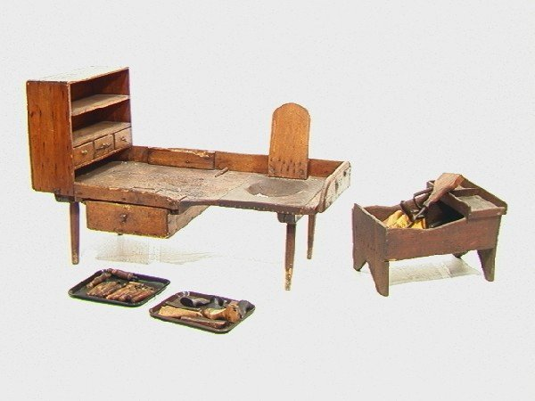 551: Antique Cobblers Bench with Tools and accessories