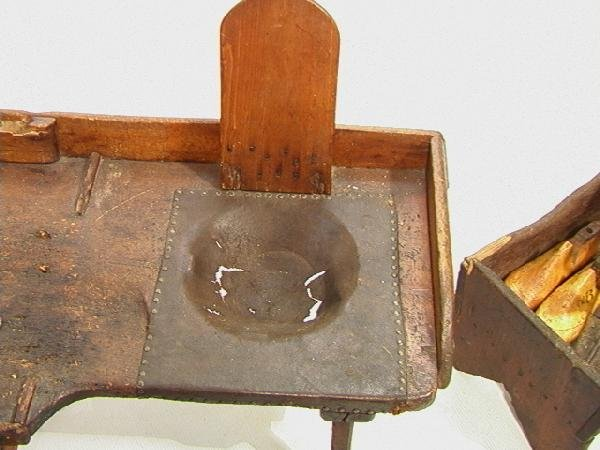 551: Antique Cobblers Bench with Tools and accessories - 3