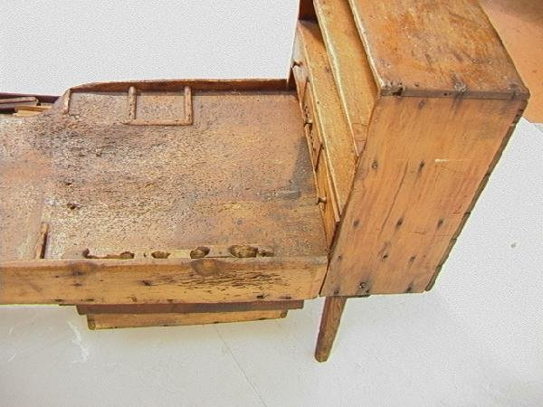 551: Antique Cobblers Bench with Tools and accessories - 8