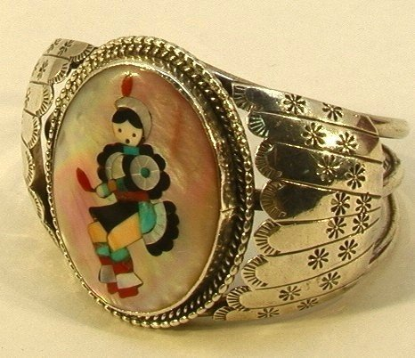1: Native Amer. Indian Inlaid Kachina Bracelet ZUNI.  T