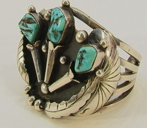 4: Native American Indian Turquoise Bracelet. Heavy sil