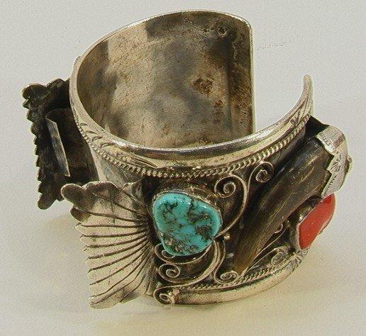 5: Native American Indian Turquoise Watch Bracelet. Lar