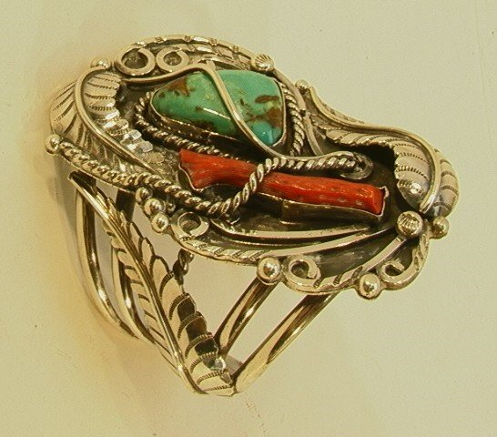 6: Native American Indian Turquoise Coral Bracelet. Sty
