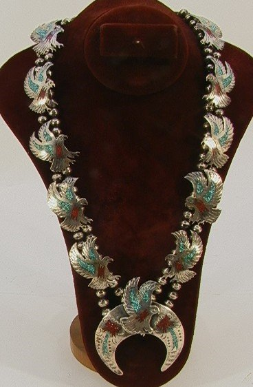 7: Native American Indian Turquoise Eagle Necklace. Bea