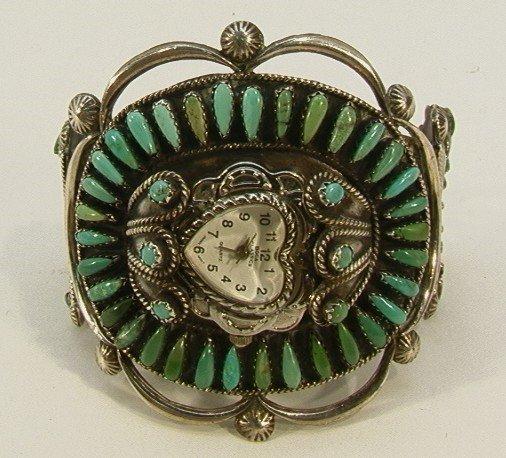 11: Amer. Indian Turquoise Needlepoint Watch Bracelet Z