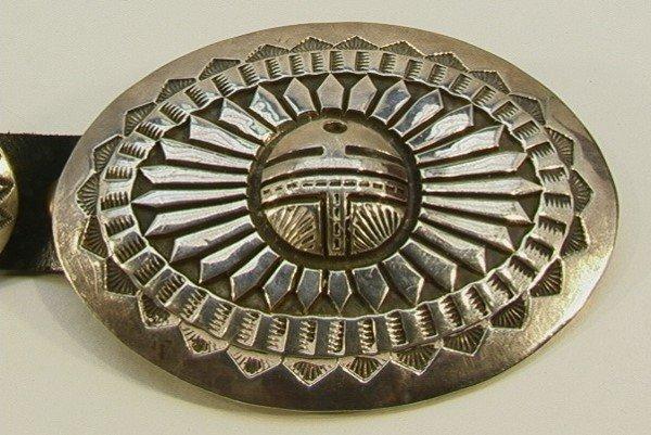 13: Sterling NAVAHO Concha Belt DARIN BILL Indian.  Nat