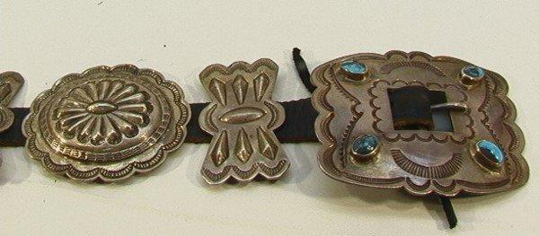 14: American Indian NAVAHO Turquoise Concha Belt. Vinta