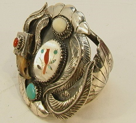 15: Native American Indian Turquoise Coral Bracelet. Br