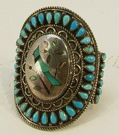 16: Native American Indian Turquoise Bracelet Inlaid Bi