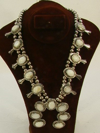 19: Native Amer. Indian MOP Squash Blossom Necklace. Be