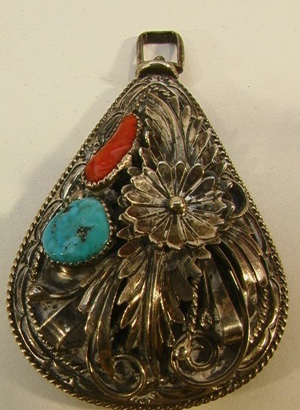 21: Native American Indian Turquoise Coral Necklace. Tw