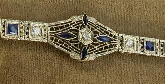 135: 14K and Plat Art Deco Diamond Sapphire Filigree Br