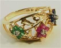 177 Emerald Ruby Sapphire Diamond 10K YG Ring Flor