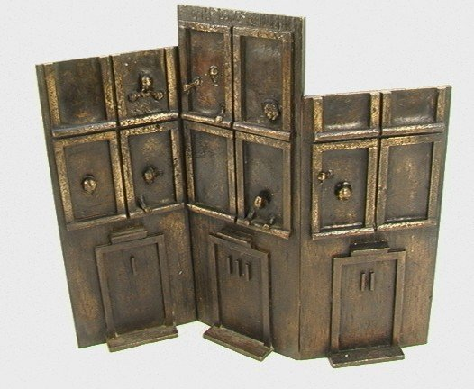 1004: Bronze Sculpture Triptych Doors and Windows w/ Fa