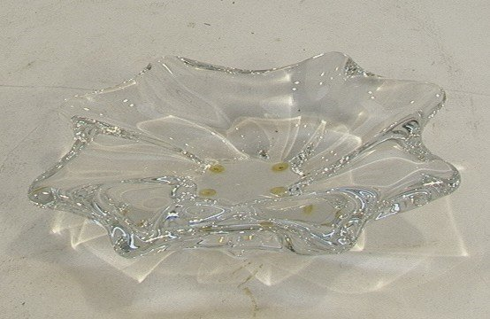 1005: BACCARAT Crystal Clear Seaform Low Bowl FRENCH. H