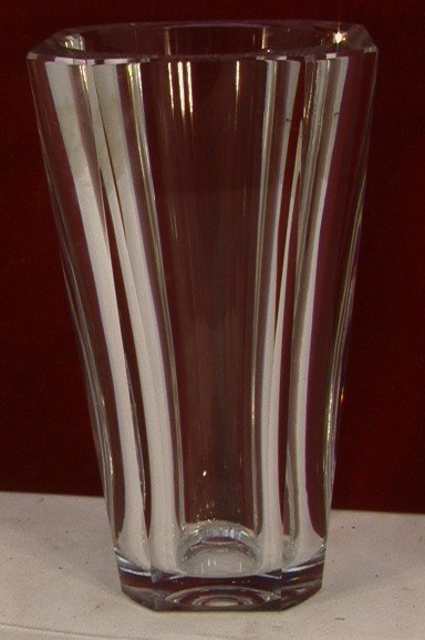 1013: BACCARAT Leaded Crystal Faceted Vase FRANCE.  Hea